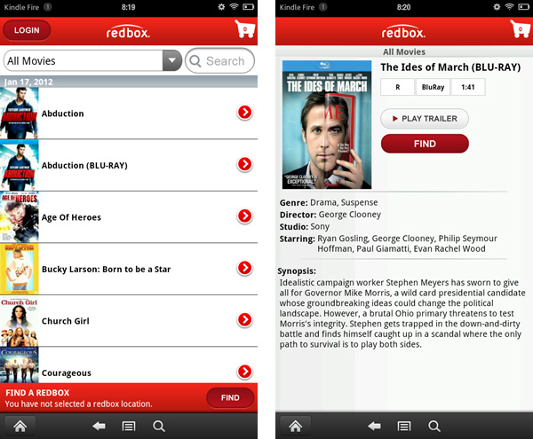 Redbox App for Kindle Fire and Tablets