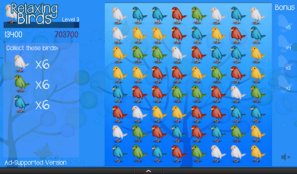 Relaxing Birds Puzzle Game on Kindle Fire