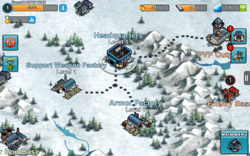 The map screen in Warfare Nation
